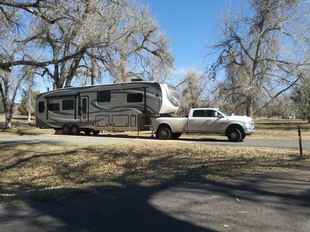 A picture of our fifth wheel and truck ready to take us on adventures