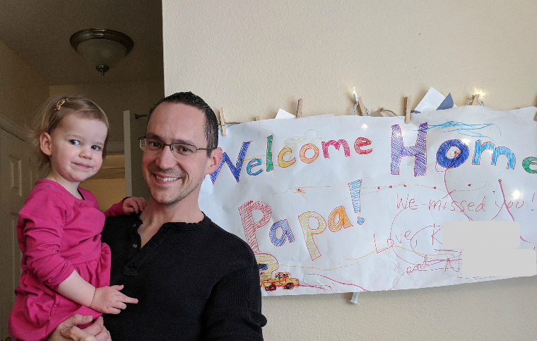 Welcome home sign for Kevin