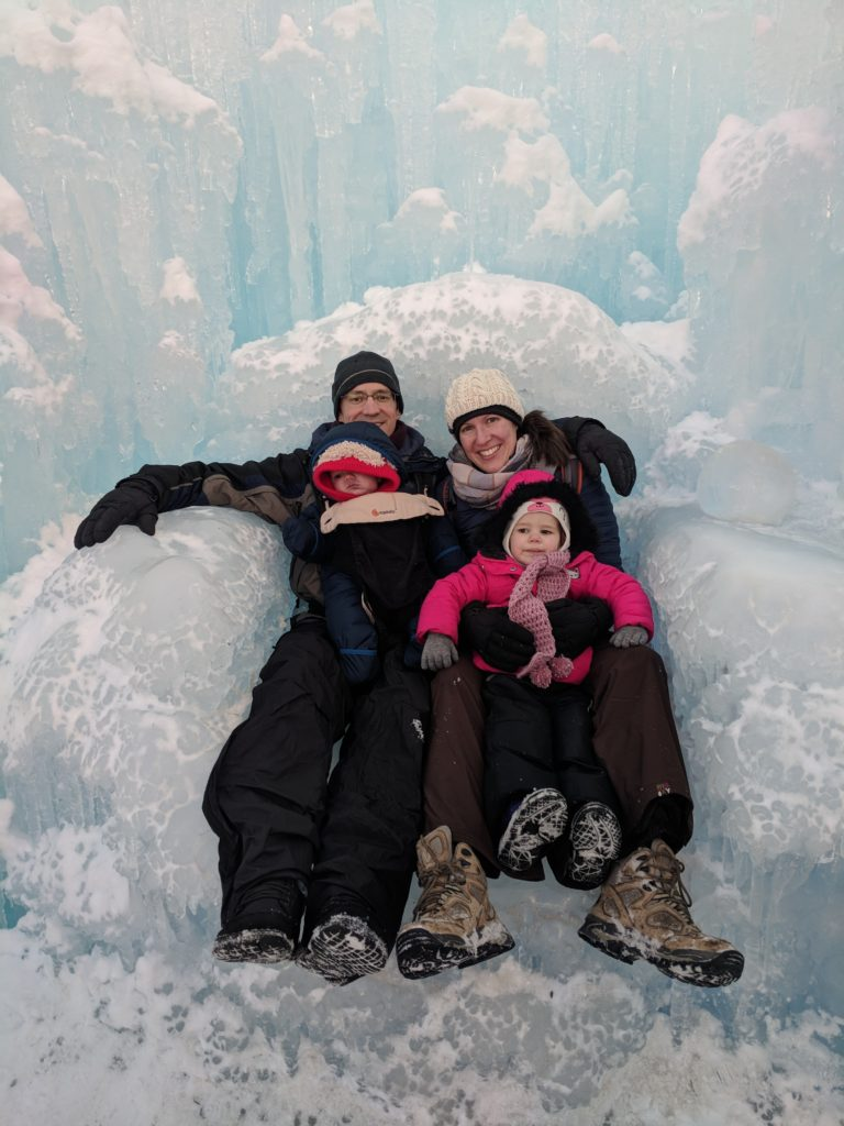 Our family sitting on the ice throne