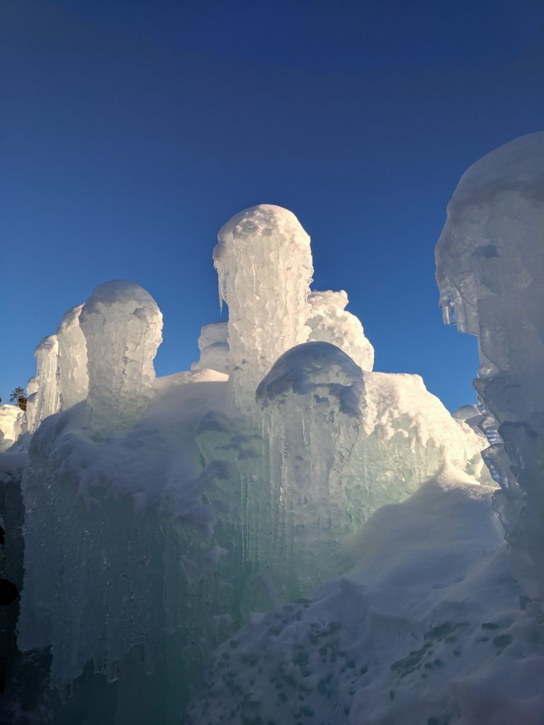 Ice castle columns look like jellyfish