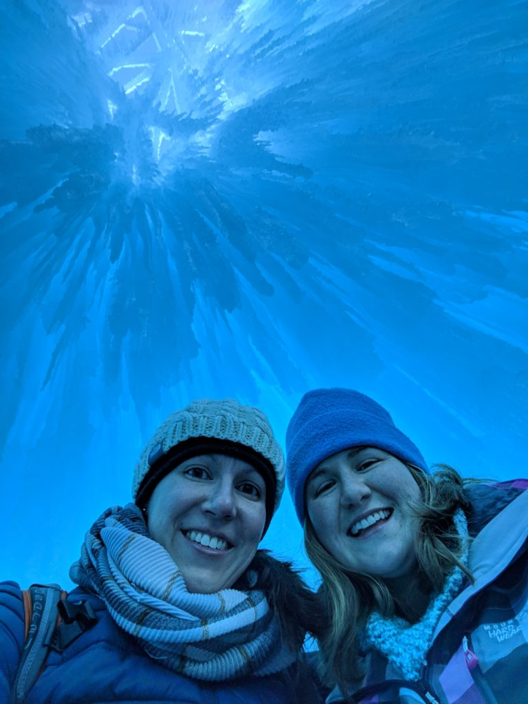 Icicles above our heads in the dome room