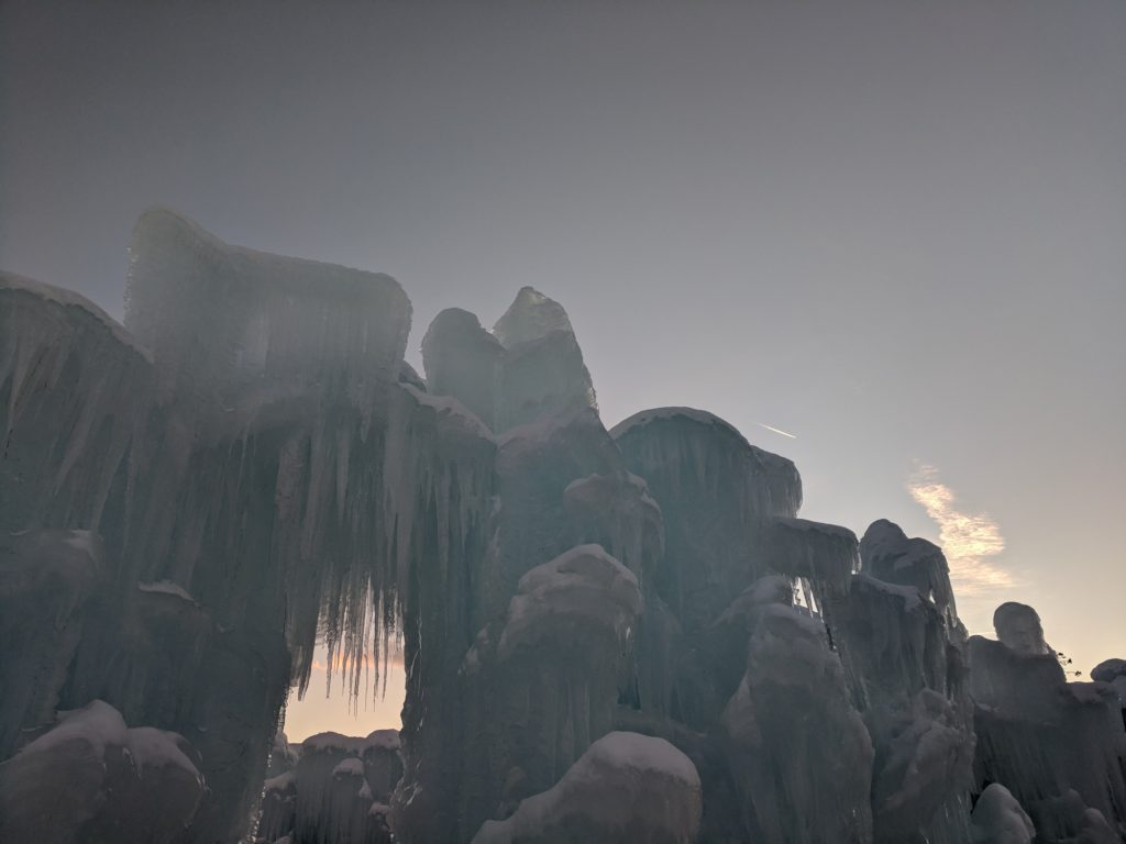 Dillon Ice Castle wall as the sun sets