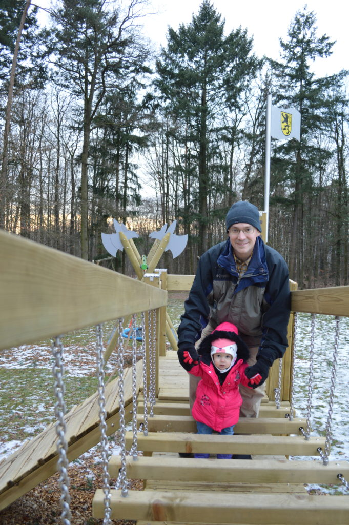 Playground swinging bridge