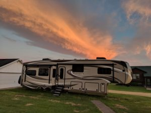 RV and sunset