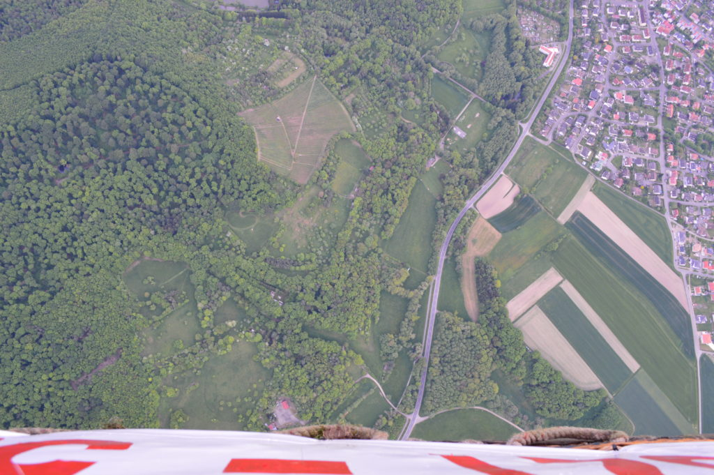 View down to the ground from the hot air balloon