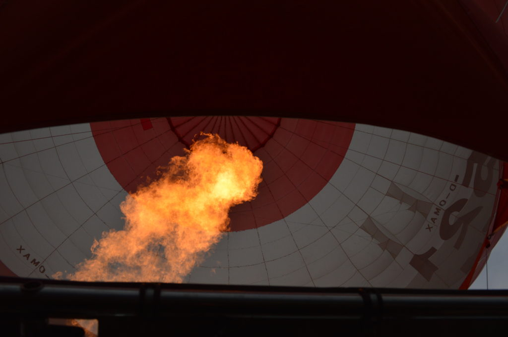 Flame from the burners putting hot air into the balloon