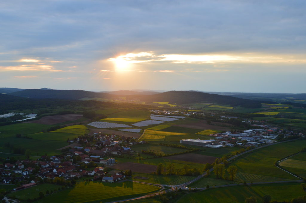 Sunset view from the hot air balloon