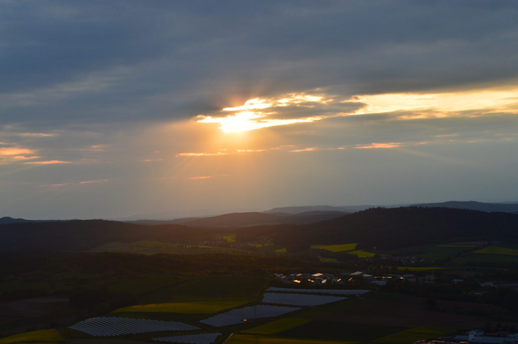 Closer view of the sunset from the hot air balloon