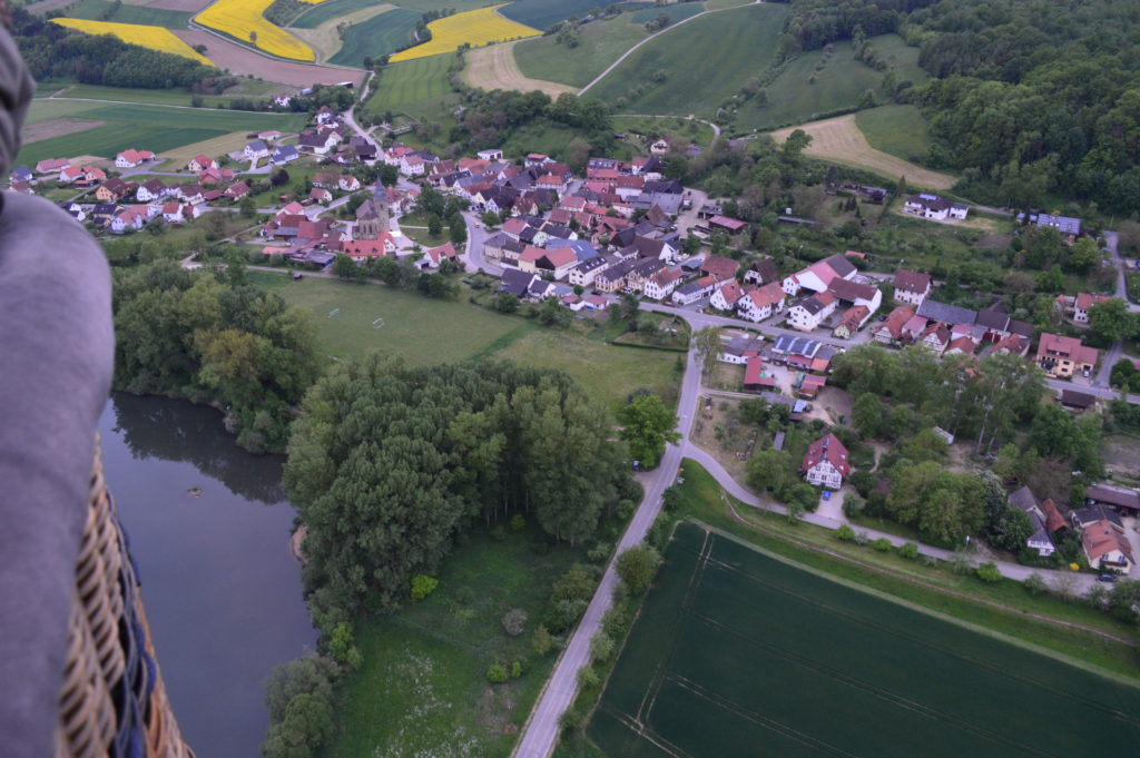 View of a little village from above