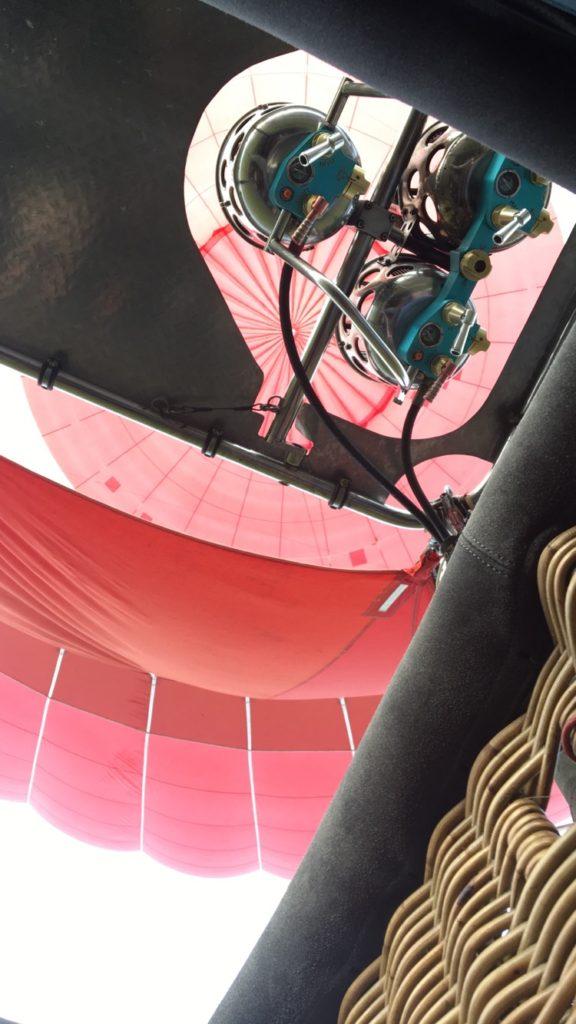 View upward of the hot air balloon burners