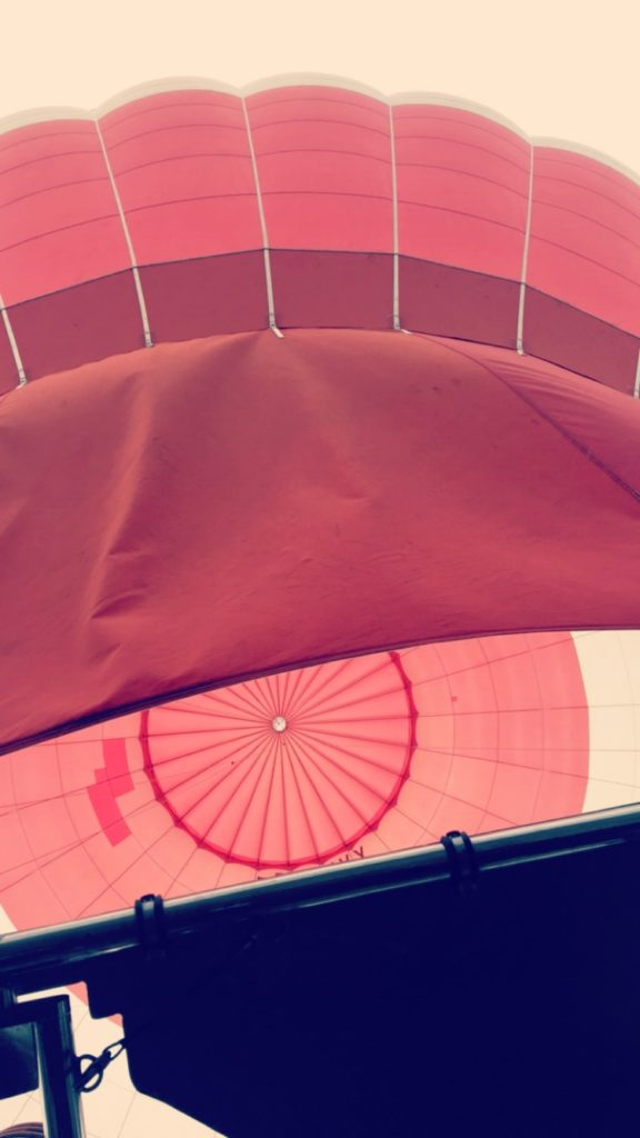 View up into the hot air balloon