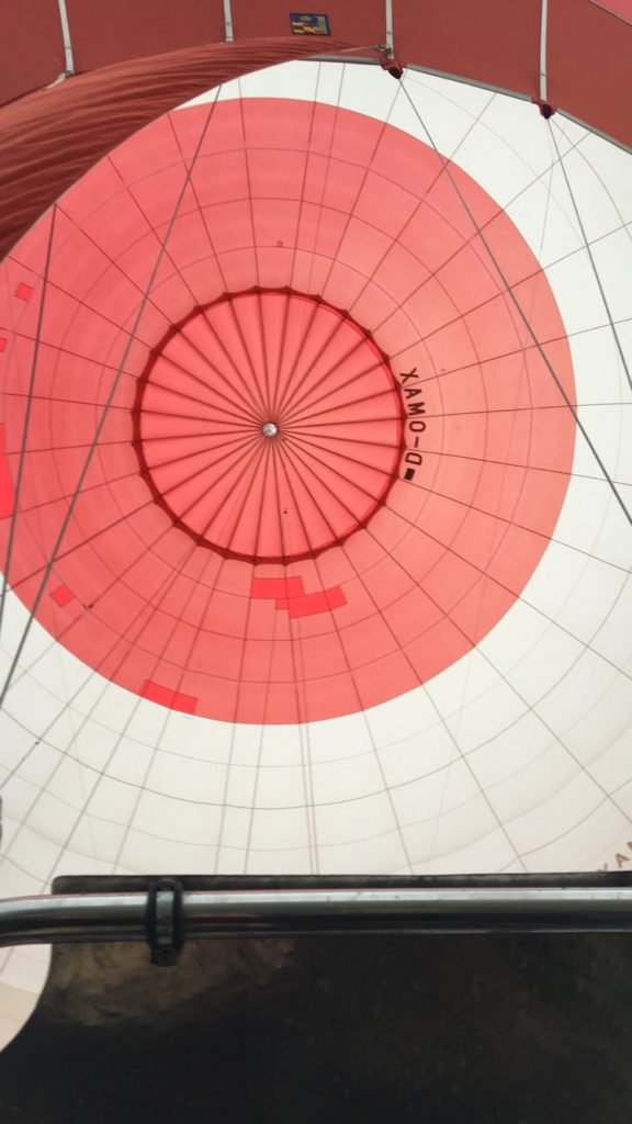 Closer view up into the hot air balloon