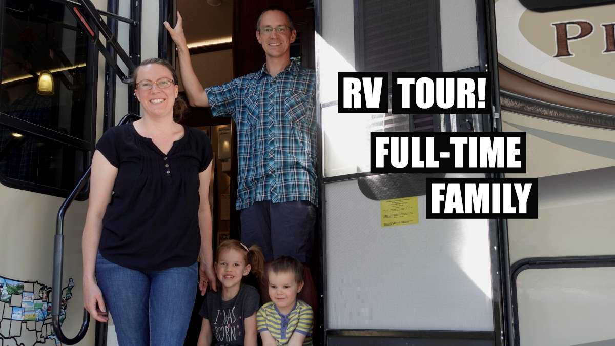 RV Fulltime Family on the stairs of their RV
