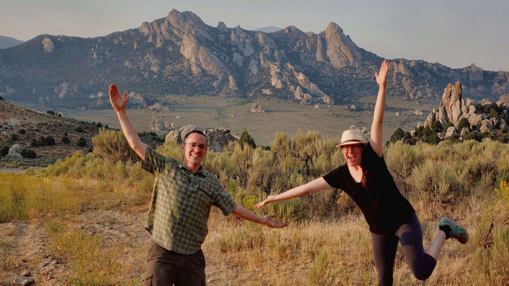 Couple in front of City of Rocks National Reserve