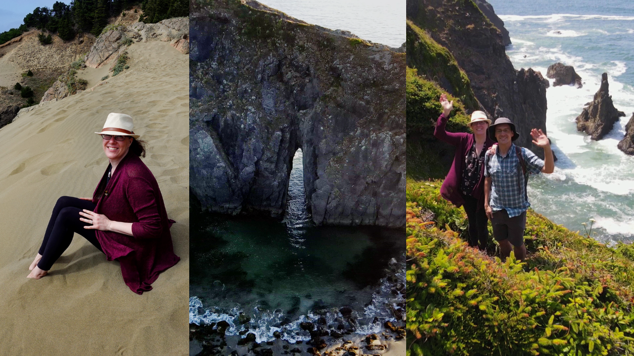 Sitting on the Indian Sands Dunes, Arch Rock, & Cliffs on the Oregon Coast near Brookings