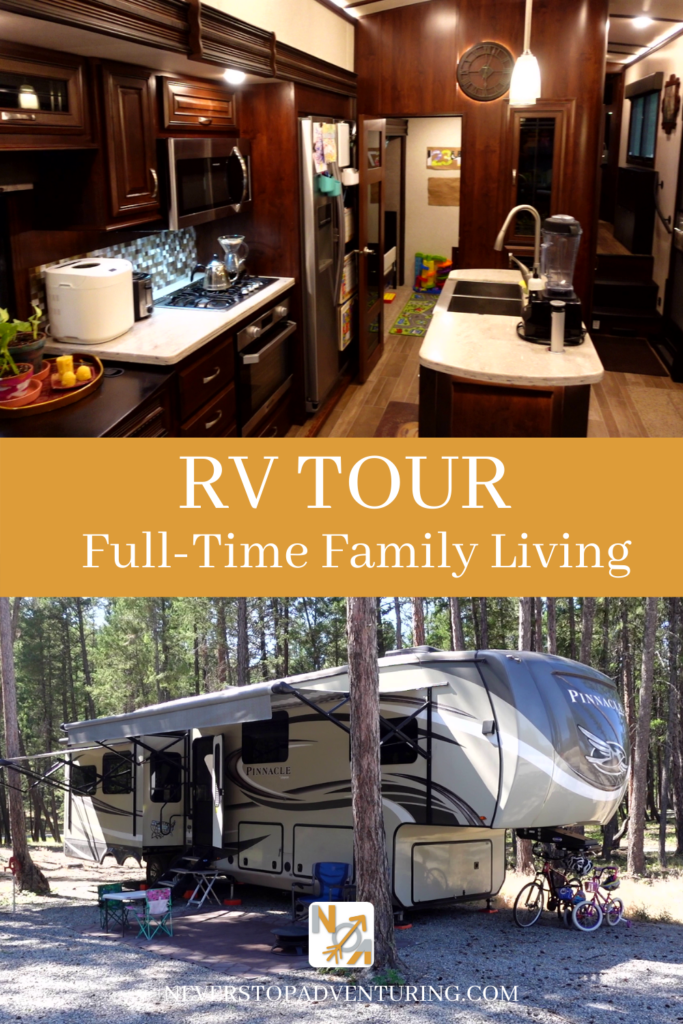 Pinnable image of RV Tour Full-Time Family Living