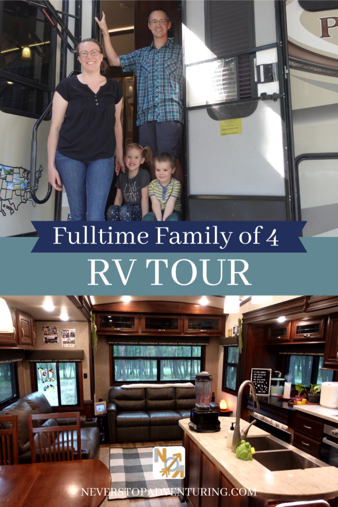Pinnable image of Fulltime Family of 4 RV Tour