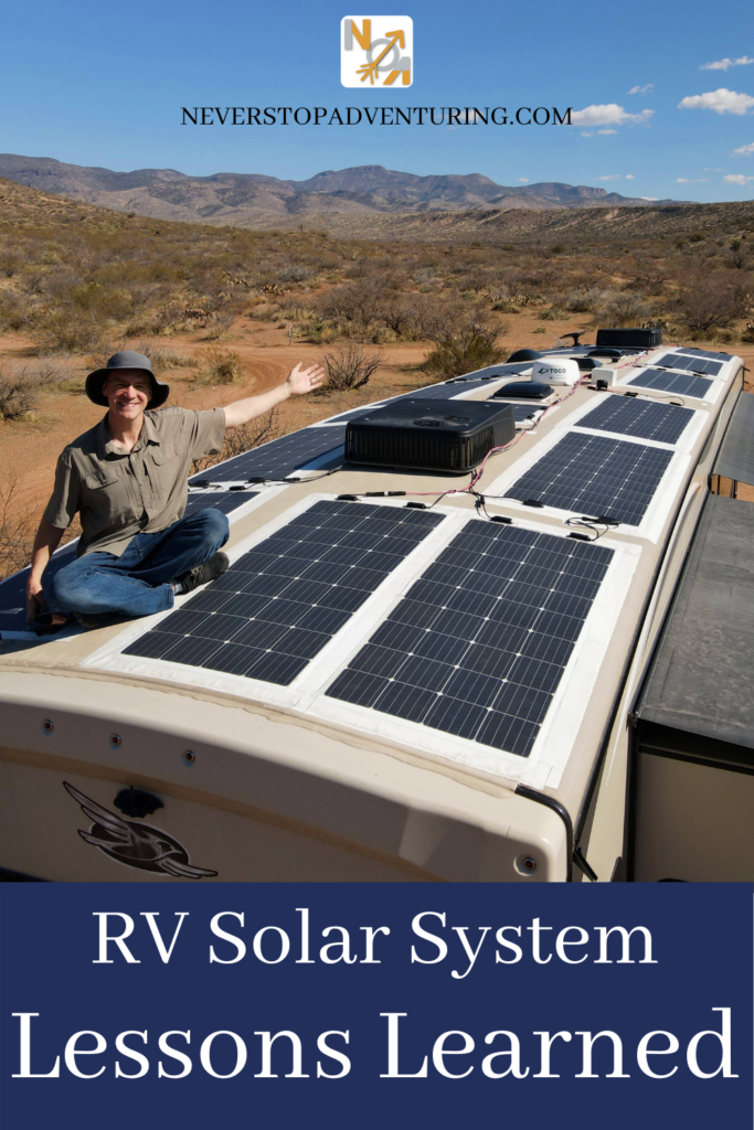 Pinnable image of man sitting on RV roof gesturing at solar panels