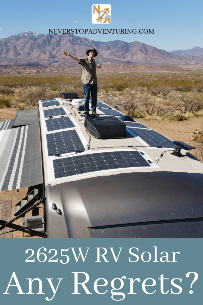 Pinnable image of man standing on RV roof showing solar panels