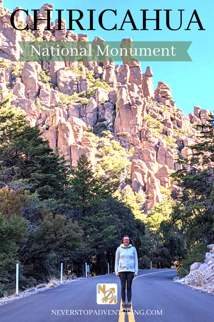 Pinnable image of woman standing on road in front of pinnacles