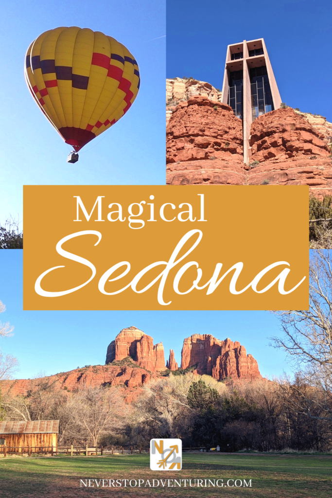 Hot air balloon, Chapel of the Holy Cross, and Cathedral Rock