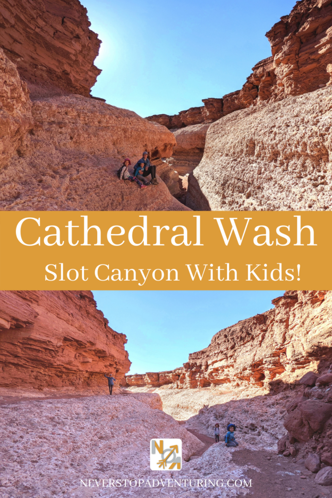 Pinable image of a mom and her kids in Cathedral Wash