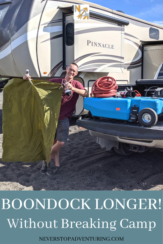 Pinnable image of man in front of RV showing freshwater bladder and wastewater tank