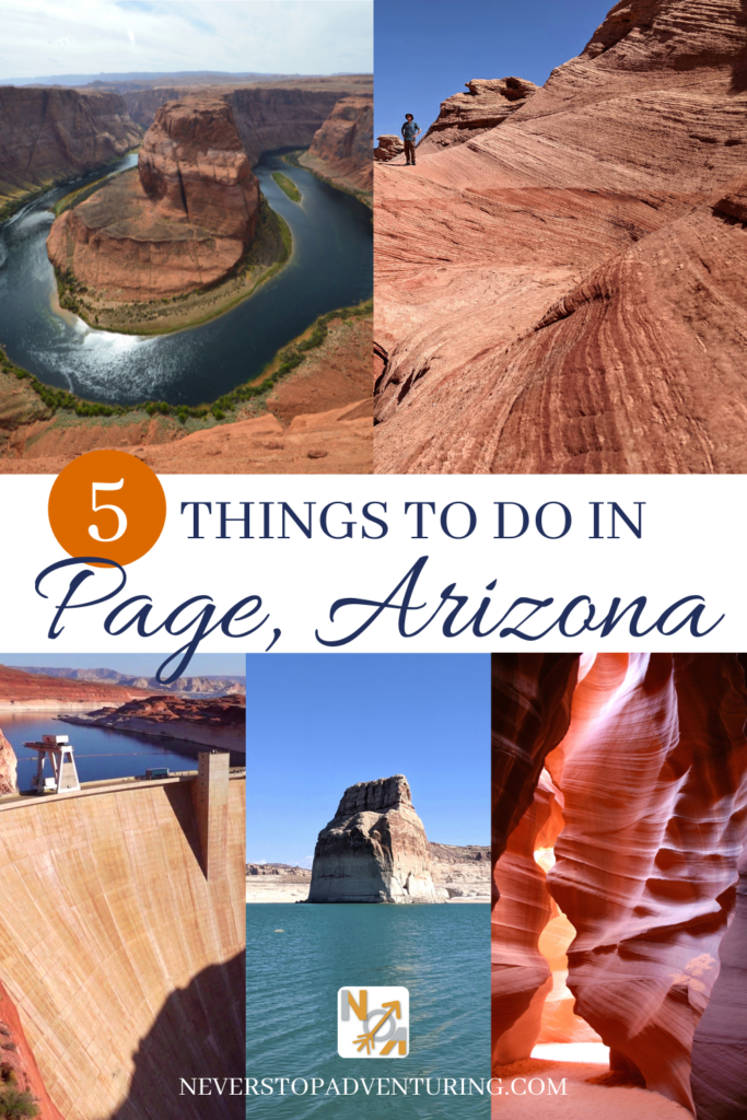 A pinnable image of 5 things to do in Page Arizona