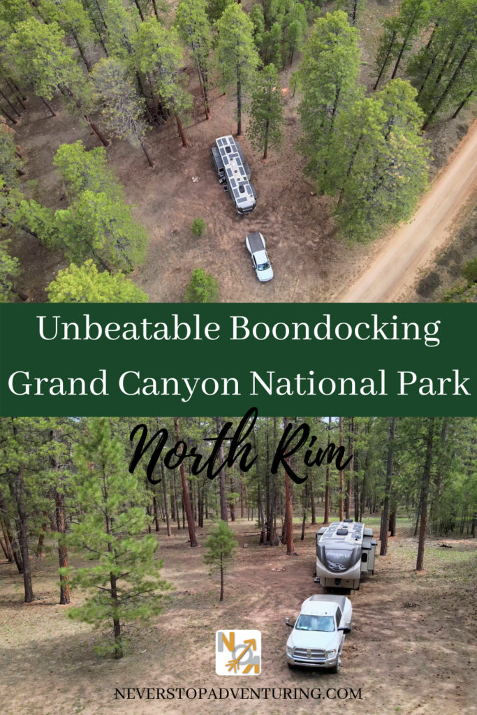 Pinnable image of RV boondocking in Kaibab National Forest
