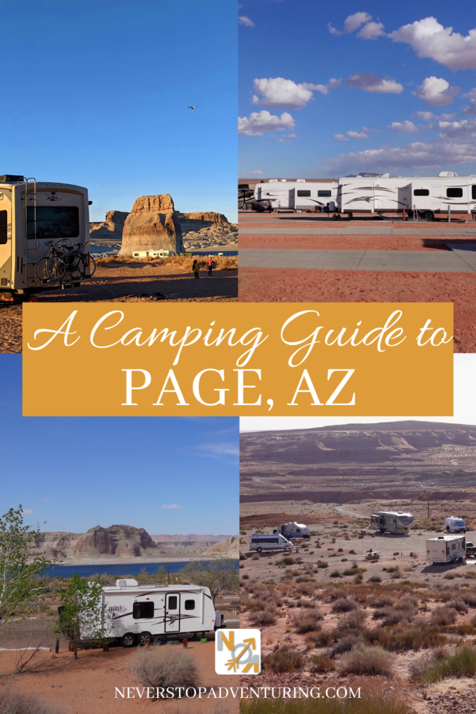 A pinnable image of camping near Page, AZ