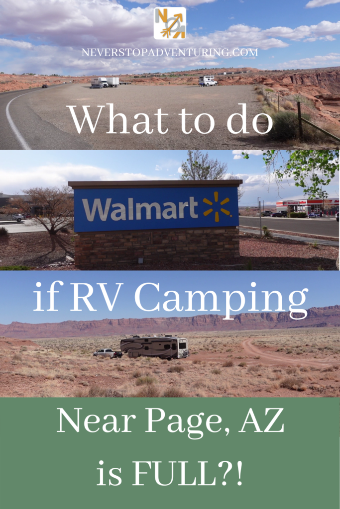 A pinnable image of alternate places to camp near Page, AZ