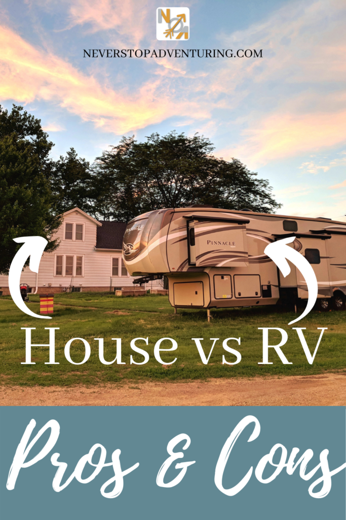 Pinnable image of a house and an RV