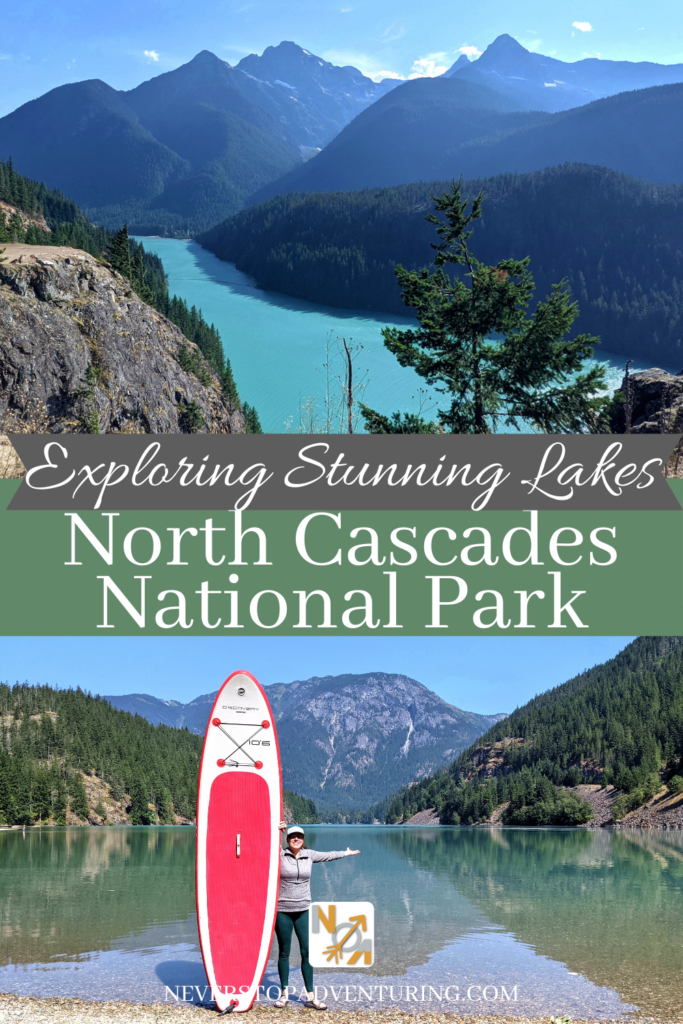 Pinnable image of Diablo Lake and woman with paddleboard