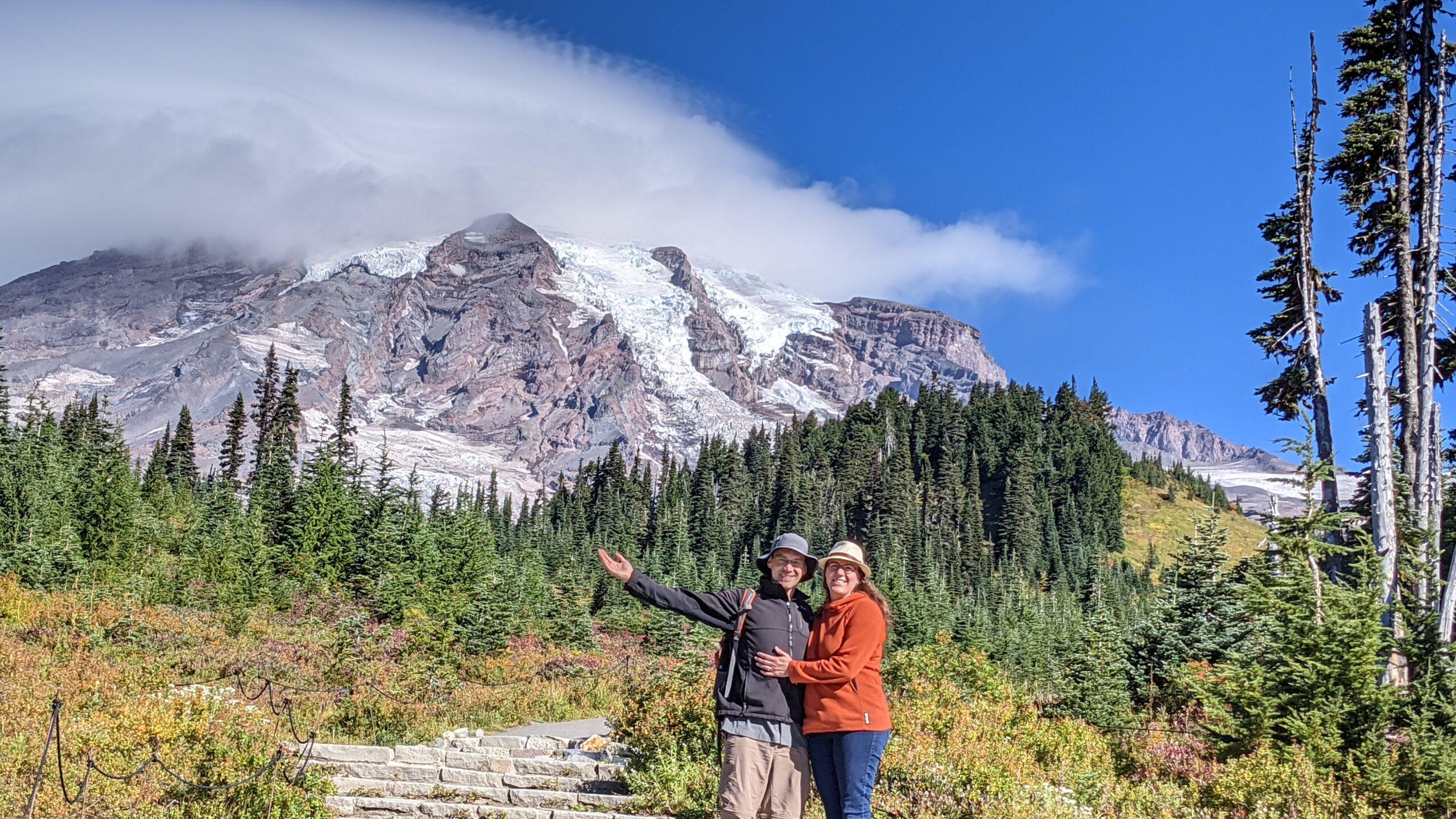 Couple in front of Mount Rainier