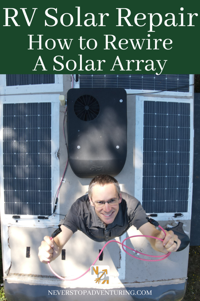 Pinnable image of man with cable on RV roof with solar panels