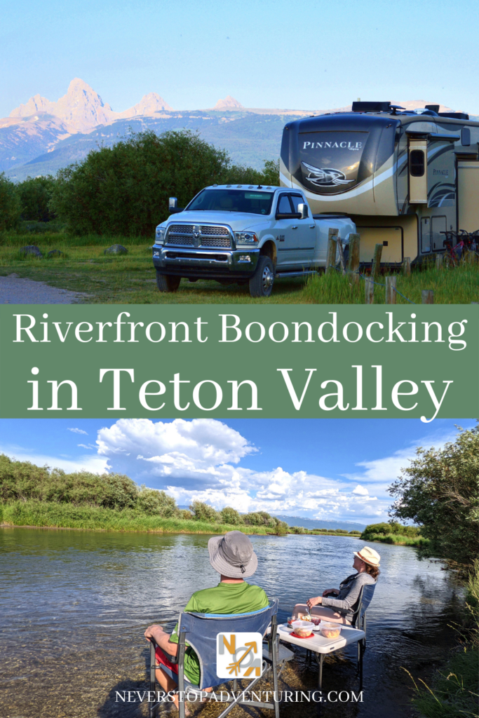 Pinnable image of a riverfront boondocking site in Teton Valley
