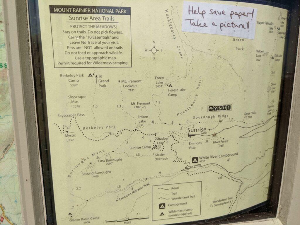 Sunrise area trail map
